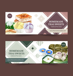 Thai sweet banner design with pudding sticky rice vector