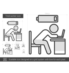 Tired worker line icon vector image