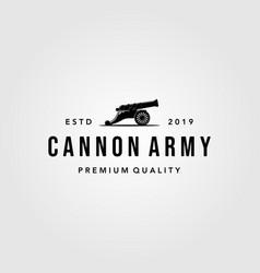 vintage cannon icon logo isolated white background vector image