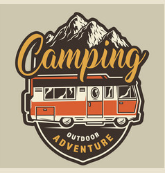 vintage summer camping colorful badge vector image