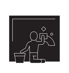 wet cleaning black concept icon wet vector image
