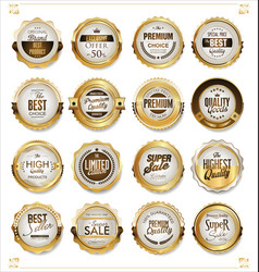 white and gold badges luxury collection vector image