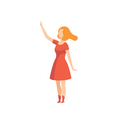 young woman pointing with her finger up faceless vector image