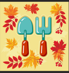 autumn agricultural icons with autumn leaves 7 vector image