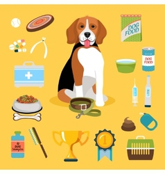 Dog life icons vector image vector image