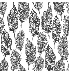 Hand drawn zentangle doodle black feathers vector image vector image
