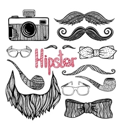 Hipster hair style accessories icons set vector image