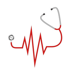 Stethoscope in shape of cardiograph vector