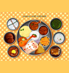 traditional cuisine and food meal thali of jammu vector image