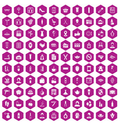 100 beauty salon icons hexagon violet vector image