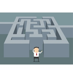 Businessman at the starting point of a maze vector image vector image