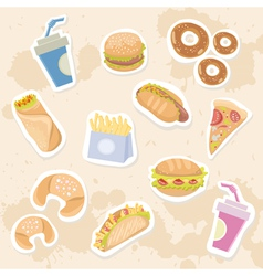 Fastfood stickers set vector image vector image
