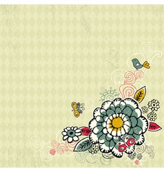 hand draw flowers on grunge background vector image