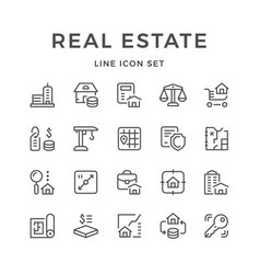 Set line icons of real estate vector