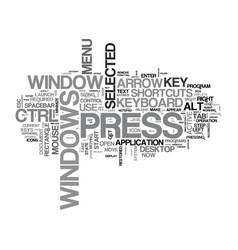 Windows keyboard shortcuts text word cloud concept vector