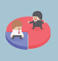 Businessmen standing on chart Market share concep vector image vector image
