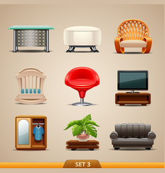 furniture icons-set 3 vector image
