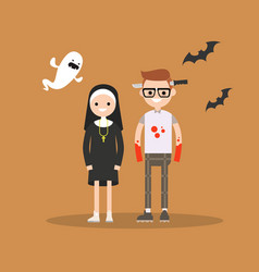 halloween trick or treat set characters are vector image vector image