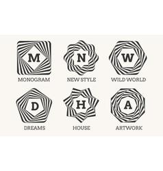 Line art logo design or monogram vector image vector image