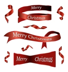 Red Christmas Ribbons Set vector image