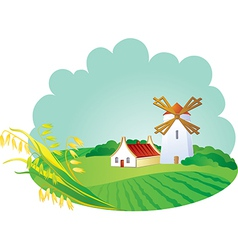 Rural background with windmill and ears vector image vector image
