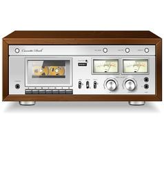 Vintage analog stereo cassette tape deck player vector image vector image