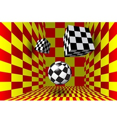 Abstract figures in the checked room vector image