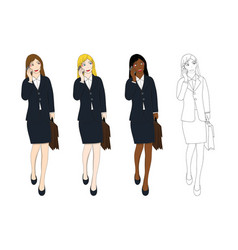 business woman talking phone and holding vector image