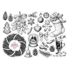Christmas object set Hand drawn vector image vector image