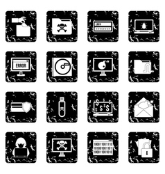 Criminal activity set icons grunge style vector image vector image