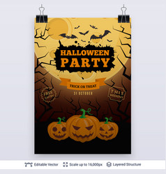 halloween party poster vector image vector image