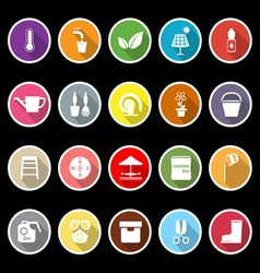 Home garden icons with long shadow vector image