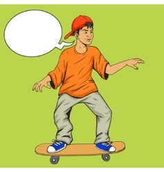 Teenager on a skateboard pop art vector image