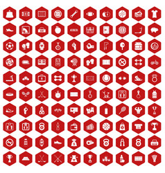 100 basketball icons hexagon red vector image