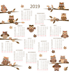 2019 calendar with owls vector image