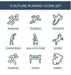 9 running icons vector