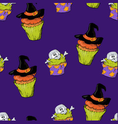 a bright seamless pattern for halloween with a vector image