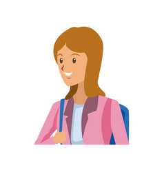 beautiful student girl character avatar image vector image