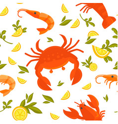 Big crab king shrimp sour lemon and fresh vector