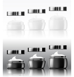 black and white glass cream jar skin care product vector image