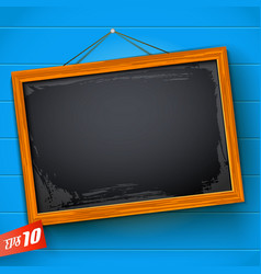 Blank chalkboard on blue background vector