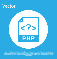 blue php file document icon download php button vector image