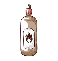 bonfire liquid icon bottle for starting flame vector image