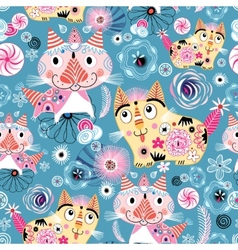 Bright pattern cats vector