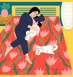 Brunette mother breastfeeding vector