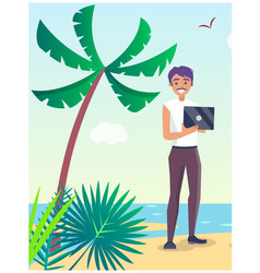 Business travel poster with freelancer on beach vector
