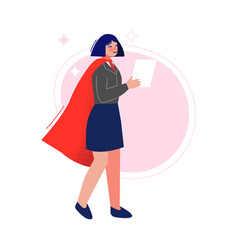businesswoman wearing red cape with paper vector image