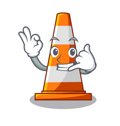 call me on traffic cone against mascot argaet vector image