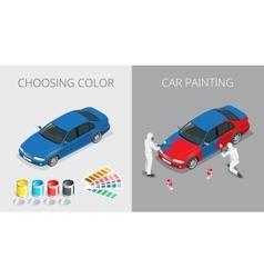 Car painting process vector image