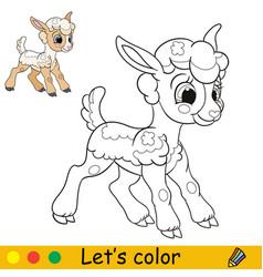 Cartoon character cute funny standing lamb vector